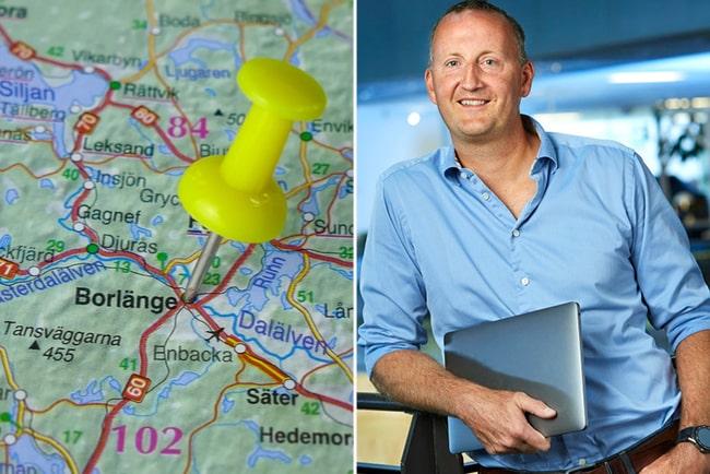 gul kartnål märker ut borlänge på karta i närbild. Björn Lindberg